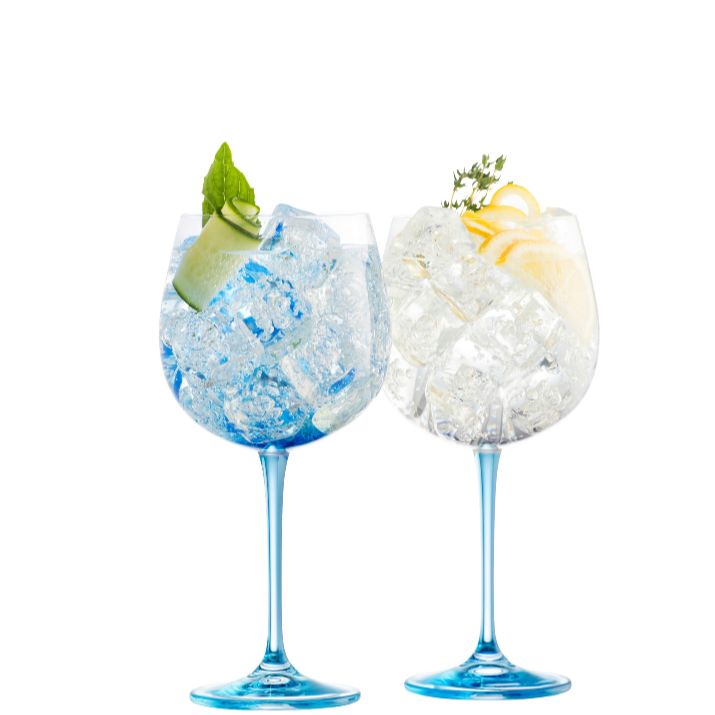 Engraved Gin & Tonic Pair - Blue - Galway Irish Crystal