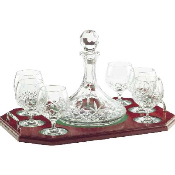 Engraved Longford Brandy Decanter Tray Set - Galway Irish Crystal
