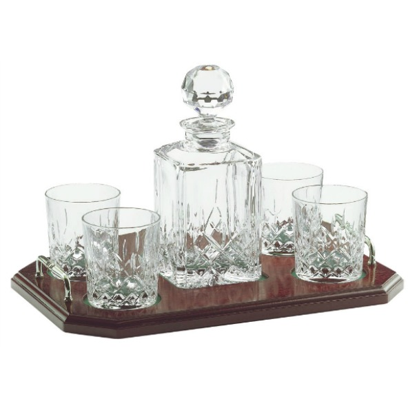 Longford Square Decanter Tray Set Engraved (G25180E) - Galway Irish Crystal