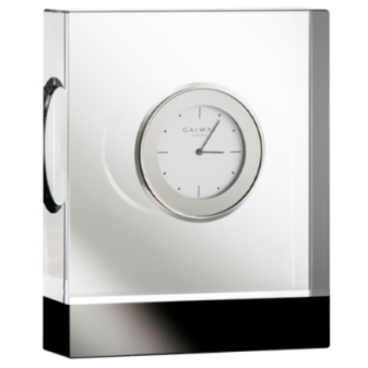 "Deco Rectangular Clock 4.5"" Engraved (D052E)"