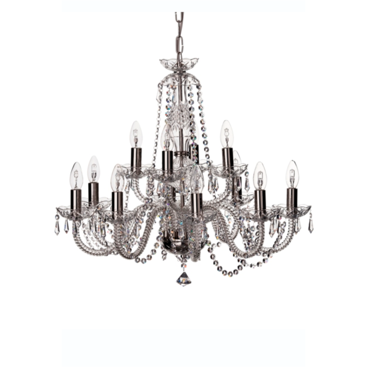Leenane 12 Arm Chandelier (GLE12) - Galway Irish Crystal