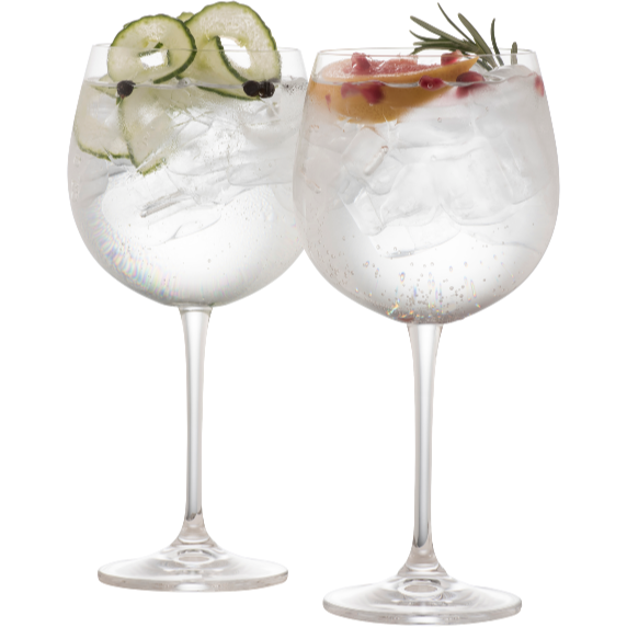 Elegance Gin & Tonic Glass Pair - Set of 2 crystal gin glasses