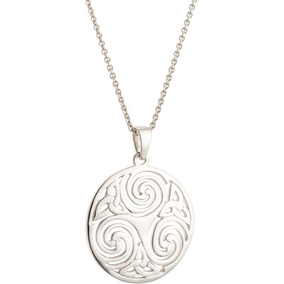 Celtic Swirl Sterling Silver Pendant - Galway Irish Crystal