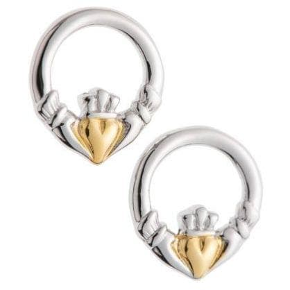 Claddagh Earrings Sterling Silver & Gold - Galway Irish Crystal
