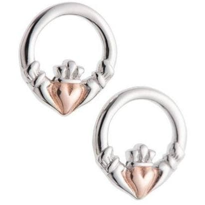 Claddagh Earrings Sterling Silver & Rose Gold G7401 - Galway Irish Crystal