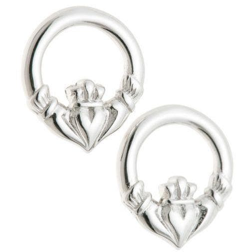 Claddagh Sterling Silver Earrings - Galway Irish Crystal