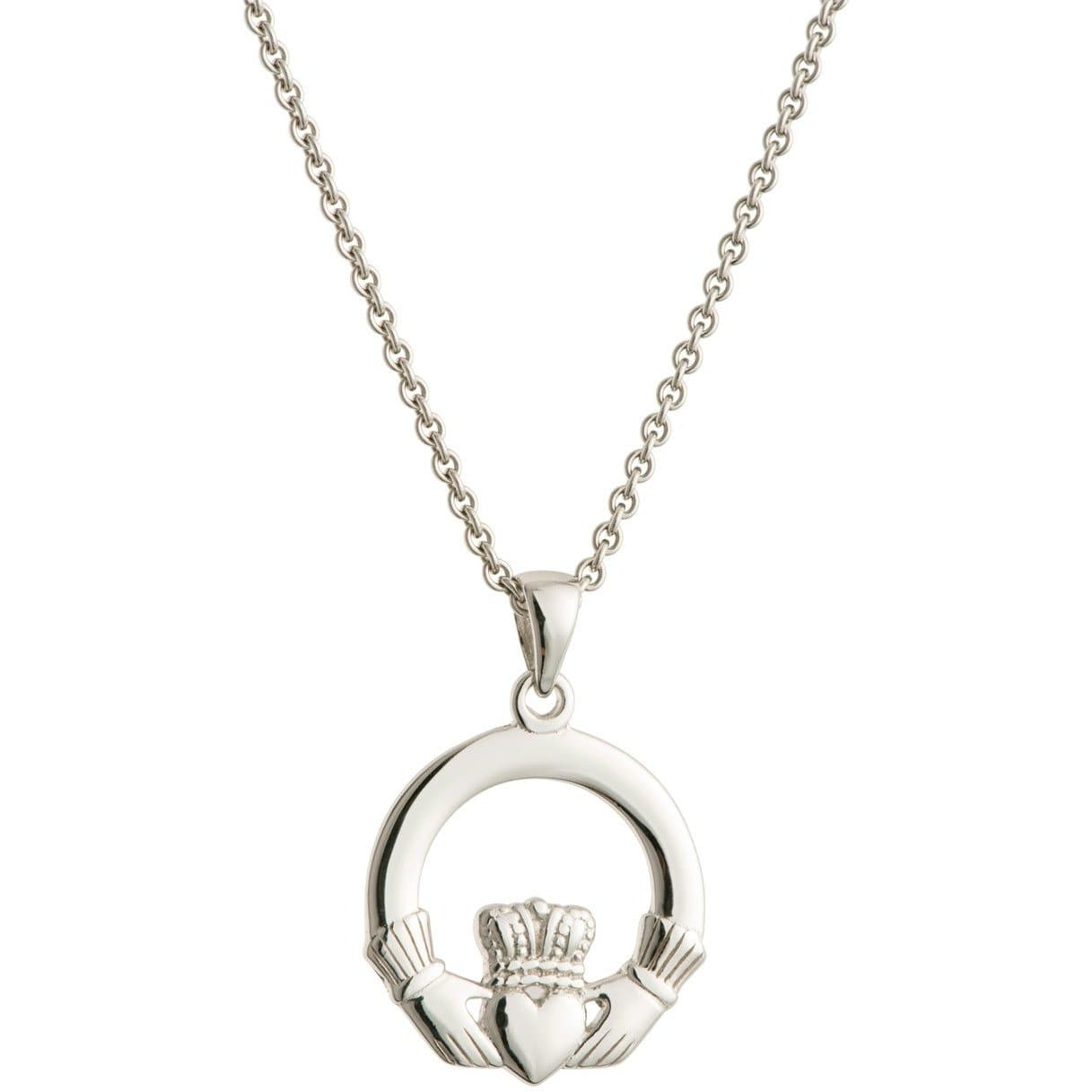 Claddagh Sterling Silver Pendant - Galway Irish Crystal