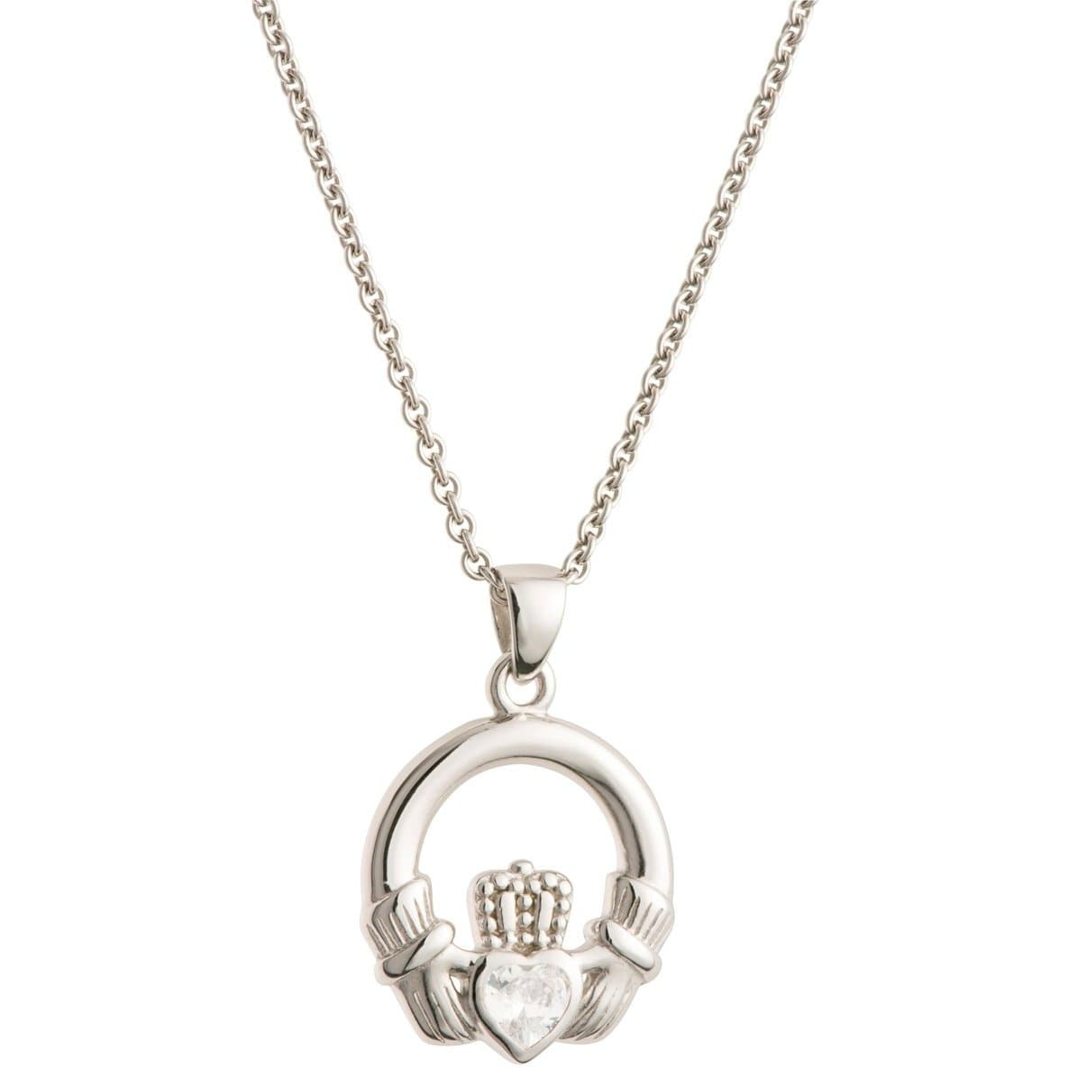 Crystal Claddagh Sterling Silver Pendant - Galway Irish Crystal