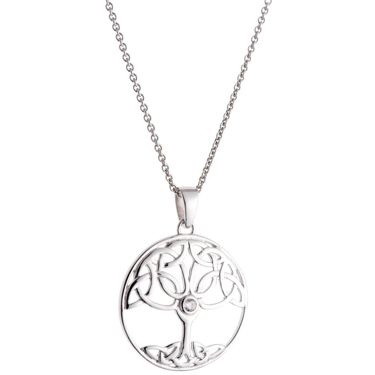 Crystal Tree Of Life Sterling Silver Pendant - Galway Irish Crystal