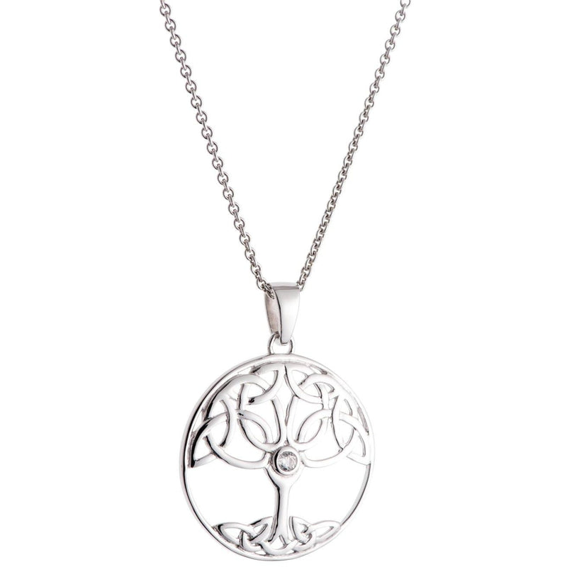Crystal Tree Of Life Sterling Silver Pendant G8105