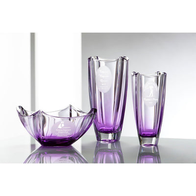 "Engraved Amethyst Dune 10"" Square Vase - Galway Irish Crystal"