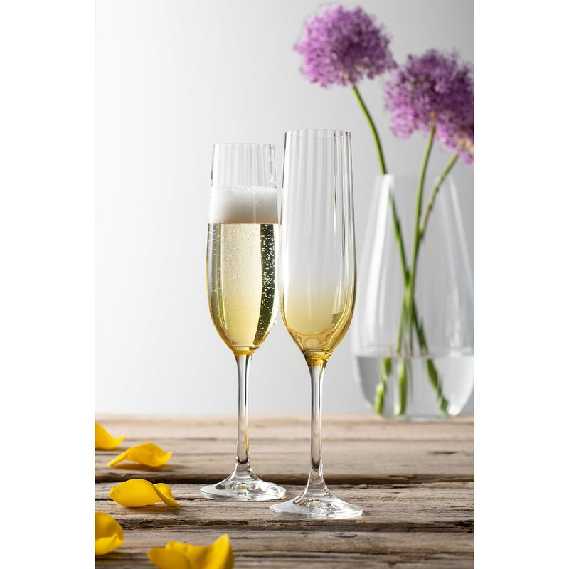 Erne Champagne Flute Pair Amber