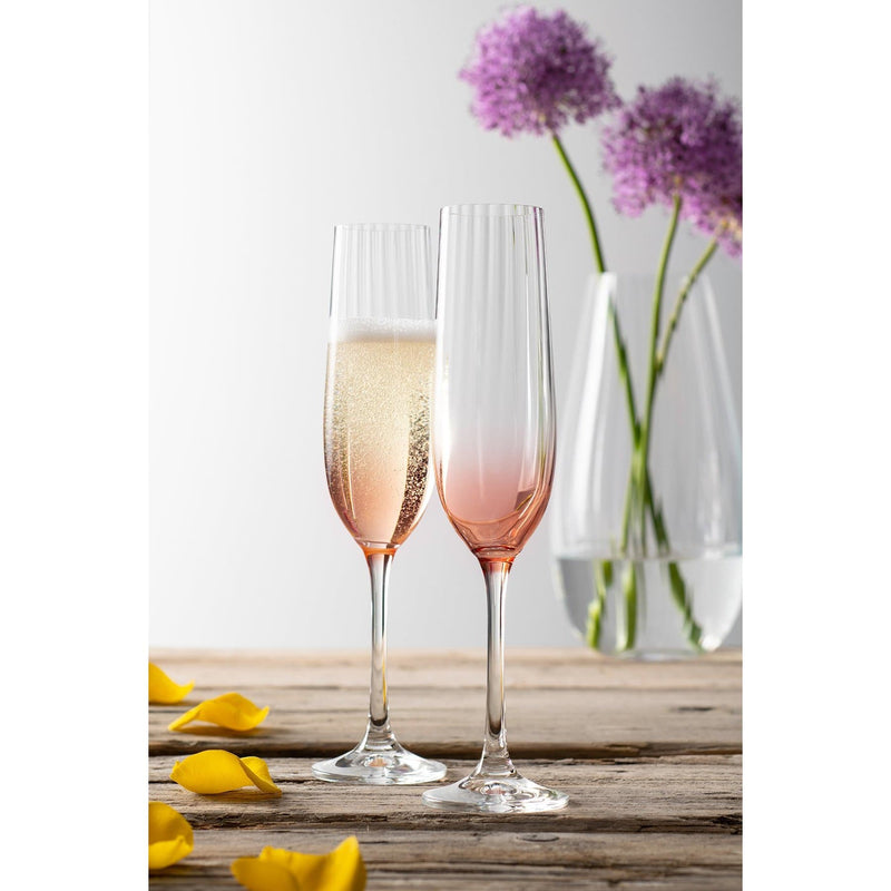 Erne Champagne Flute Pair Blush - Galway Irish Crystal