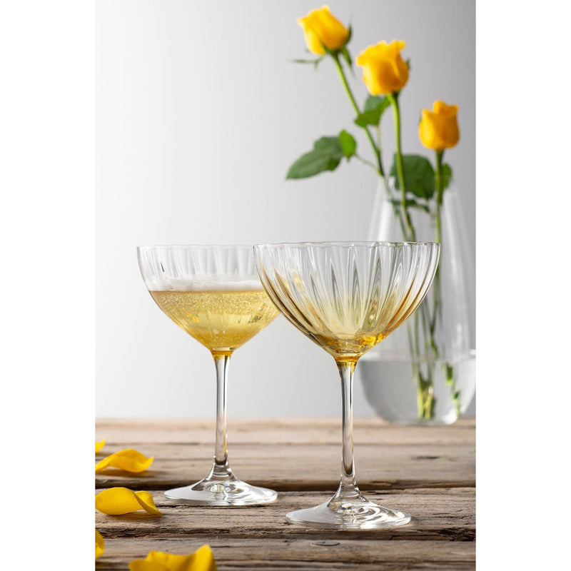 Erne Saucer Champagne Pair Amber