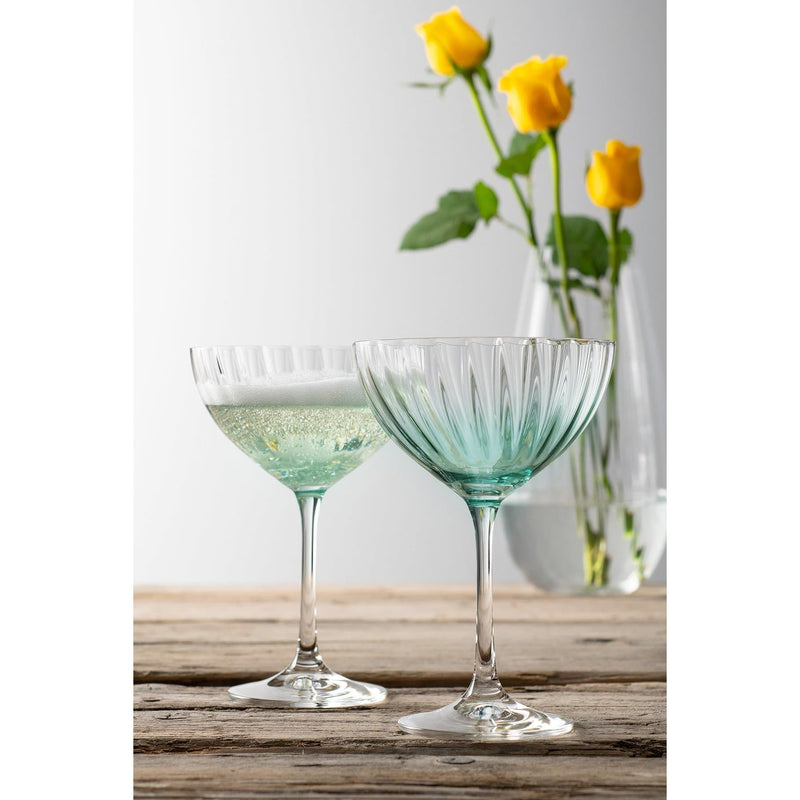 Erne Saucer Champagne Pair Aqua - Galway Irish Crystal
