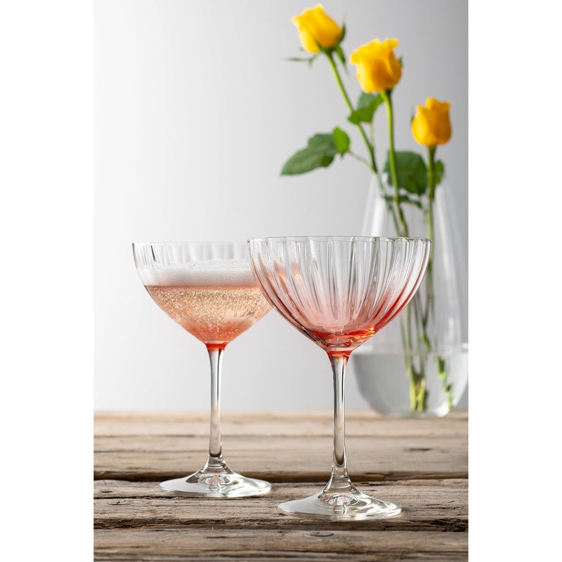 Erne Champagne Saucer Pair Blush - Galway Irish Crystal