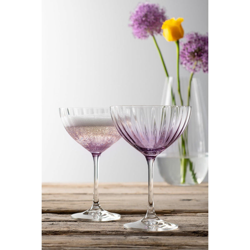 Erne Saucer Champagne Pair Amethyst - Galway Irish Crystal
