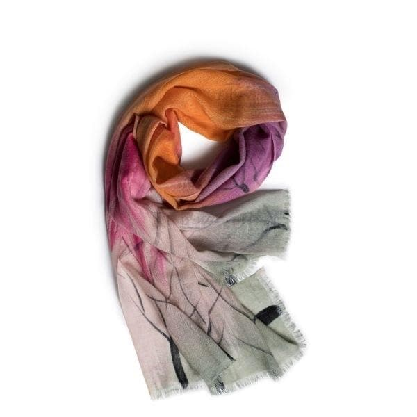 Dusk, Pink & Orange Merino Wool Scarf
