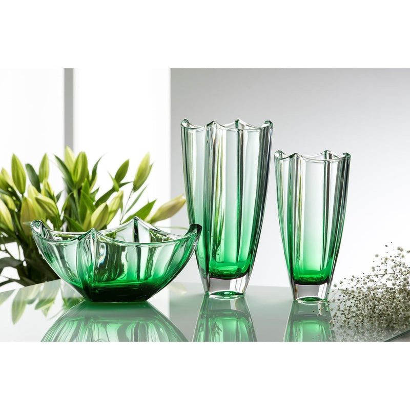 "Emerald Dune 10"" Square Vase - Galway Irish Crystal"