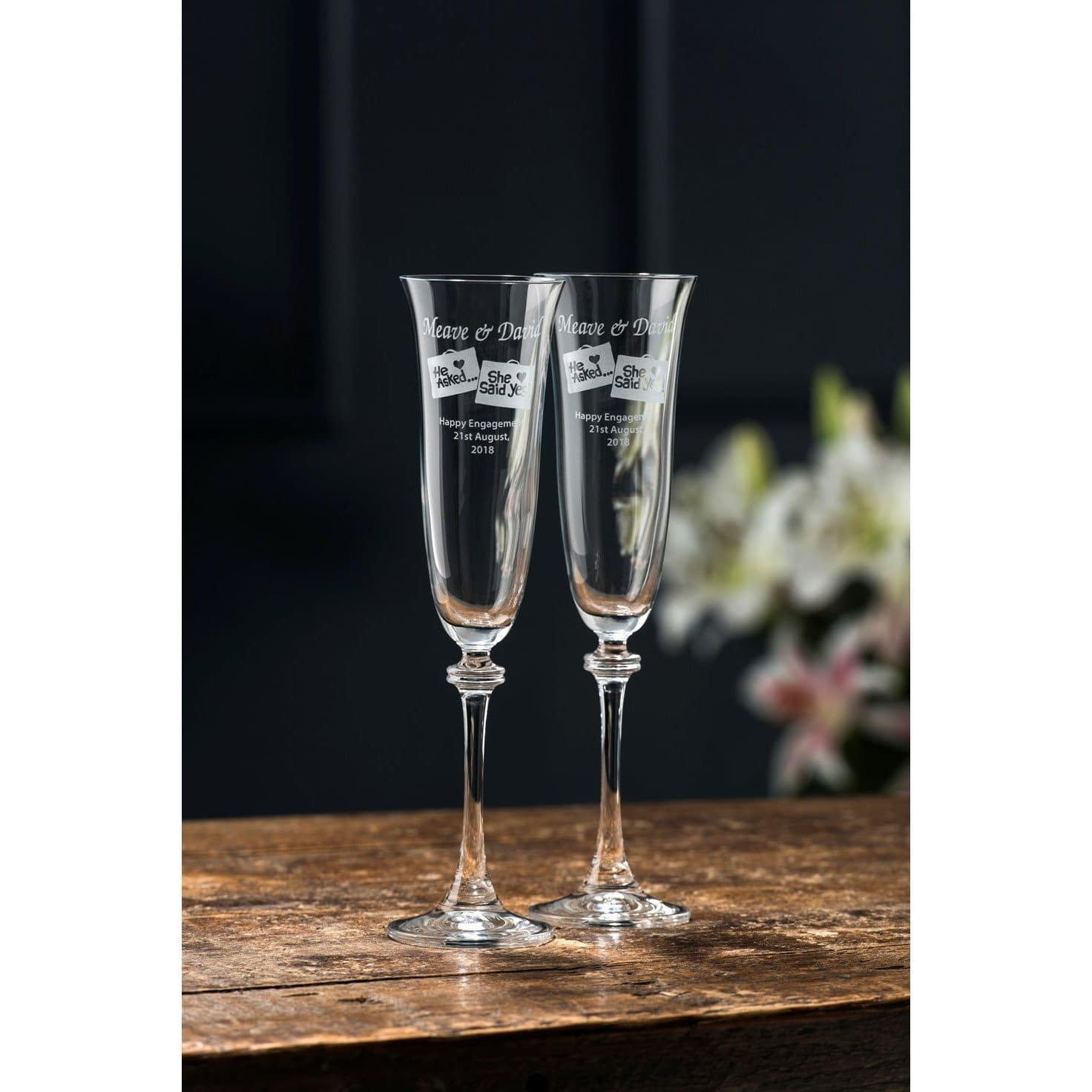 Engraved Liberty Flute Glass Pair