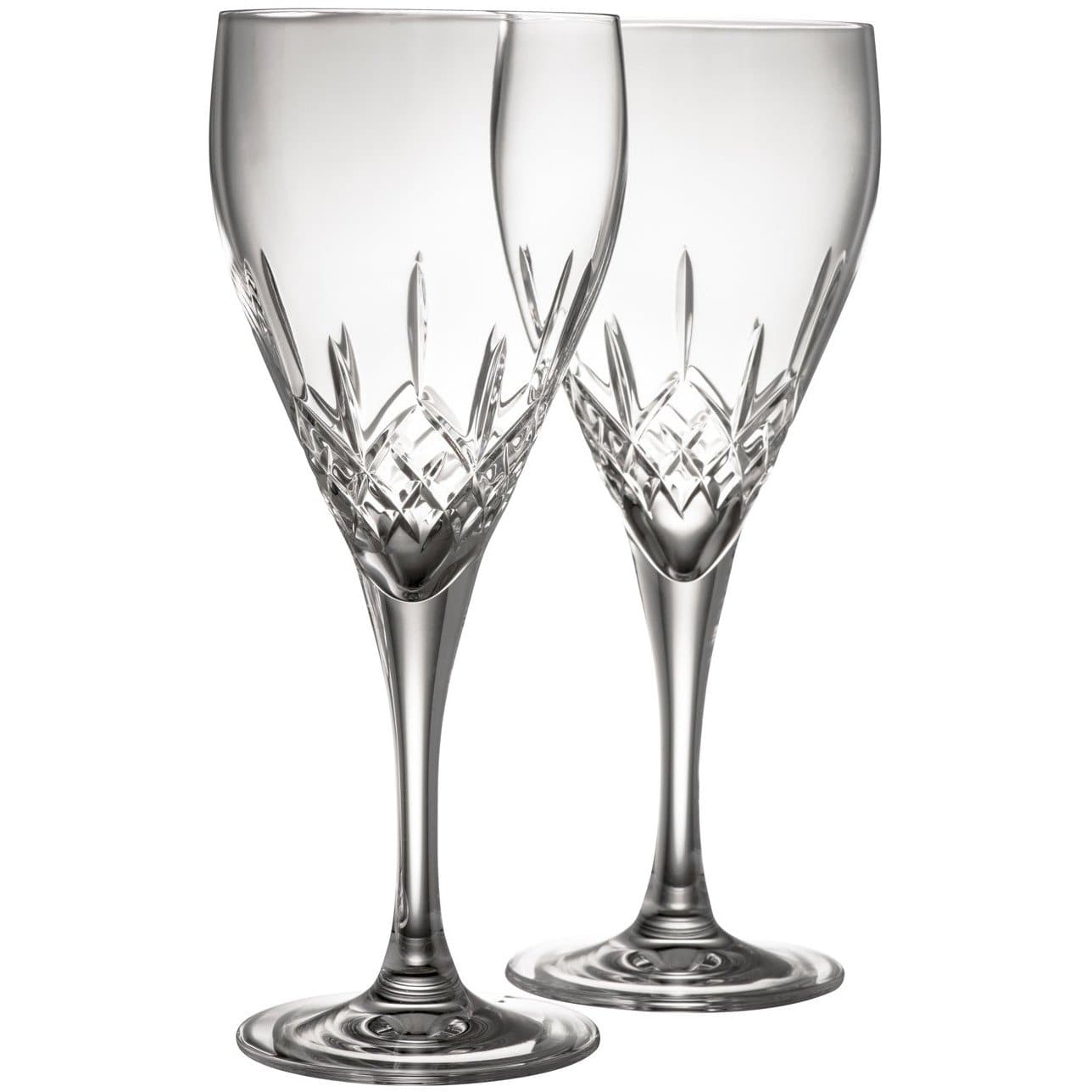 Engraved NEW Longford White Glass Pair