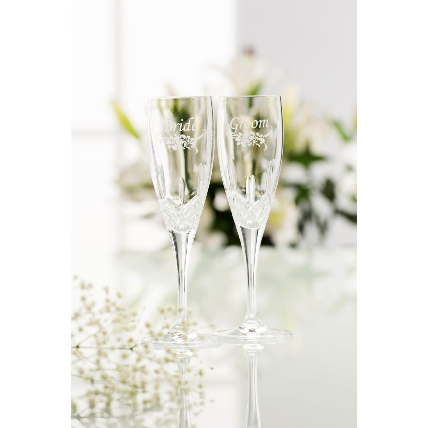 NEW Bride & Groom Flute (Floral Spray - Pair) G270392
