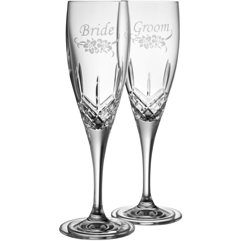 NEW Bride & Groom Flute (Floral Spray - Pair) G270392 - Galway Irish Crystal