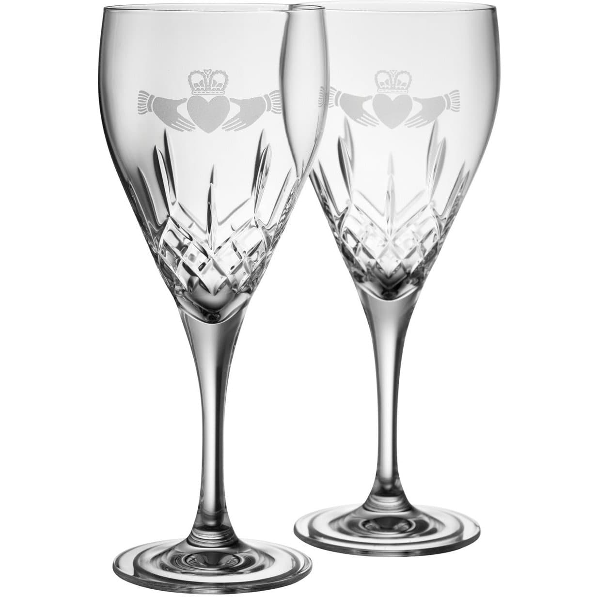 NEW Claddagh Red Wine Pair - Galway Irish Crystal