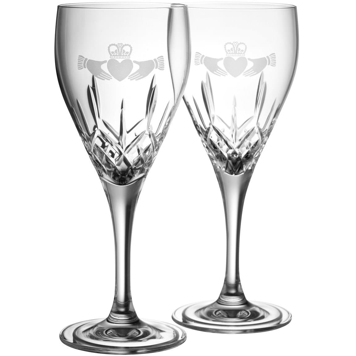 NEW Claddagh White Wine Pair G293212 - Galway Irish Crystal