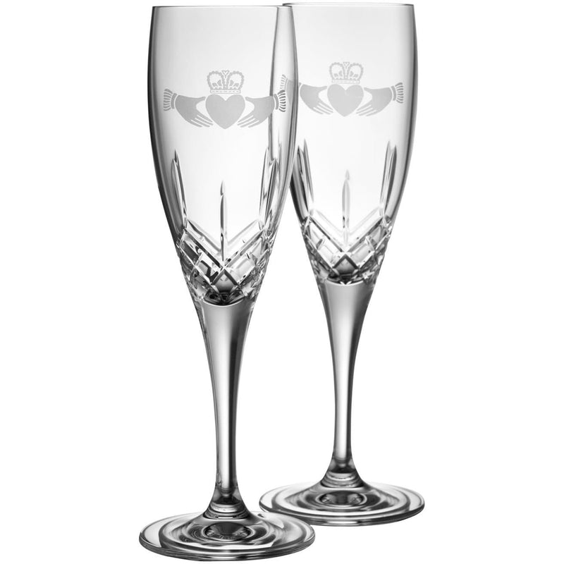 NEW Claddagh Flute Pair G293252 - Galway Irish Crystal