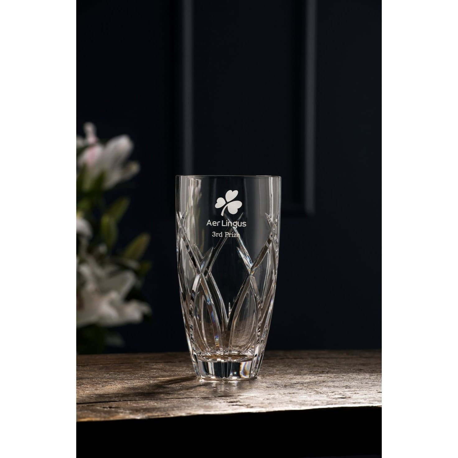 "Mystique 8"" Round Vase Engraved - Galway Irish Crystal"