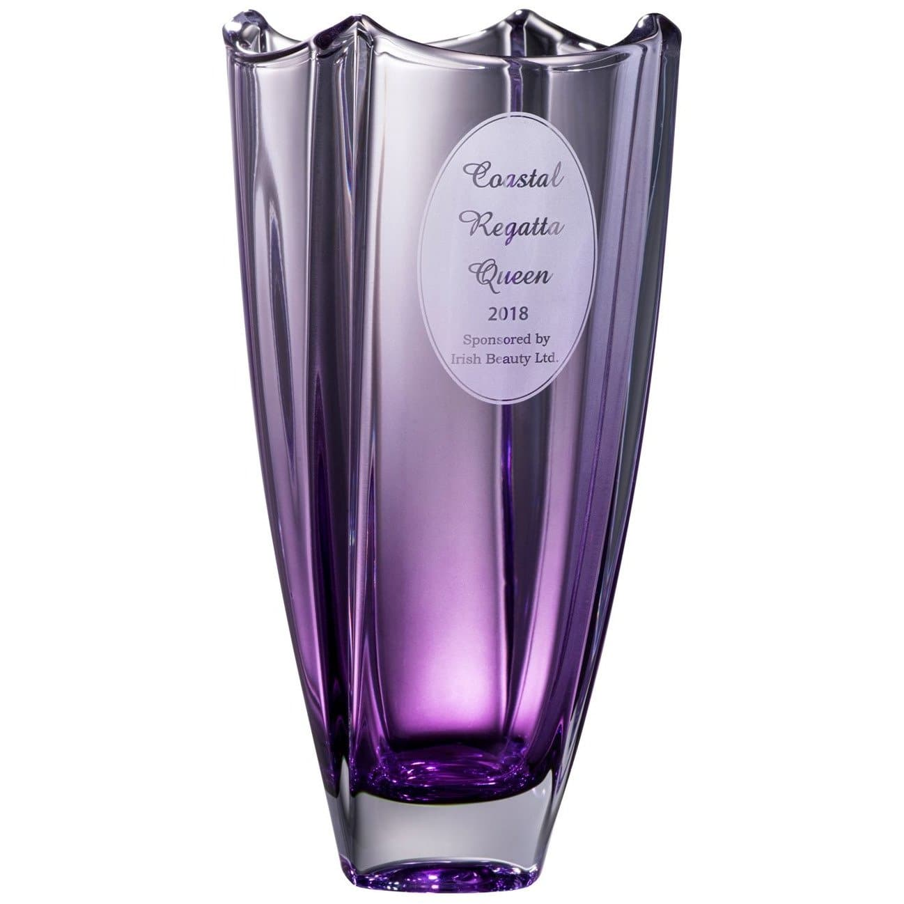 "Engraved Amethyst Dune 12"" Square Vase G45018E - Galway Irish Crystal"