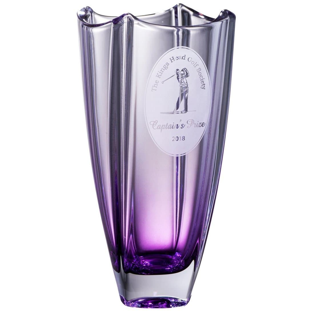 "Engraved Amethyst Dune 10"" Square Vase G45019E - Galway Irish Crystal"