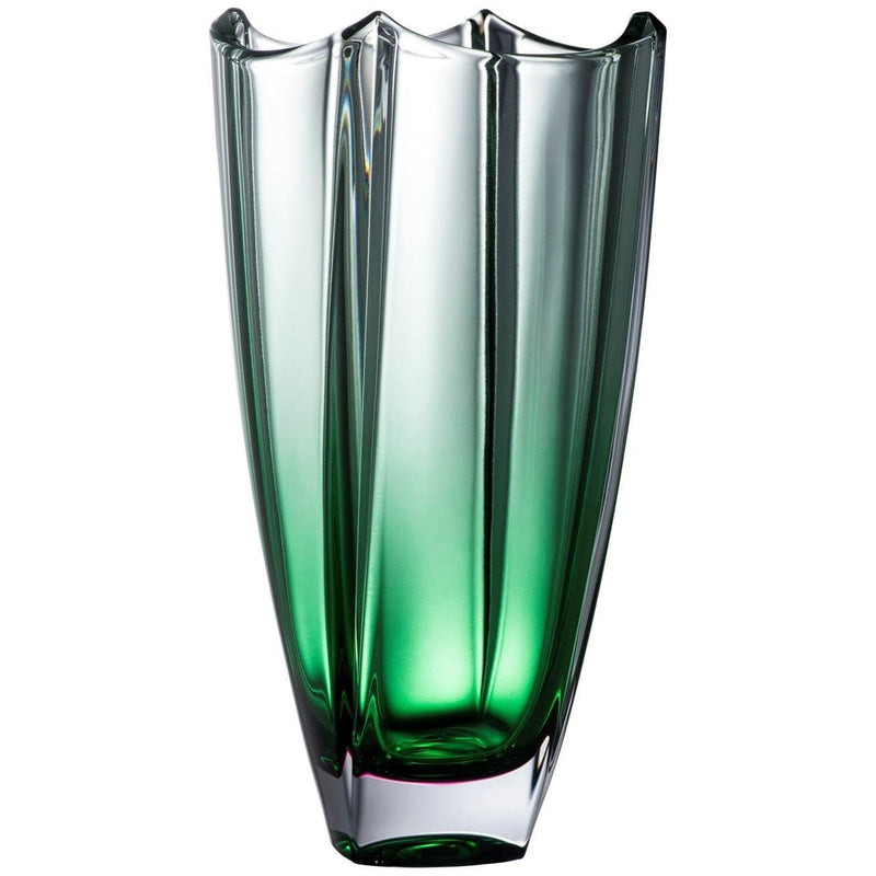 "Engraved Emerald Dune 12"" Square Vase - Galway Irish Crystal"