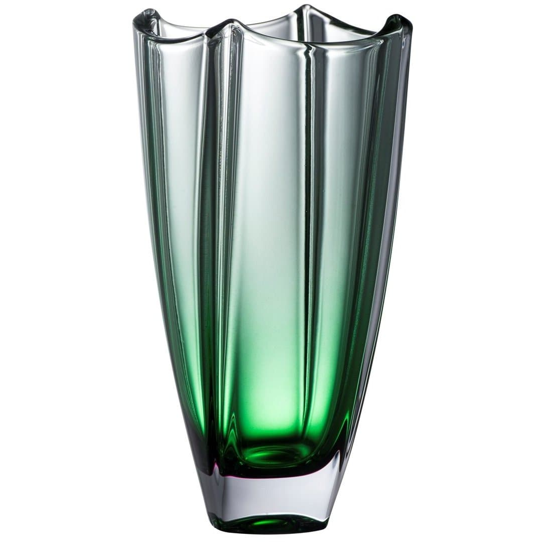 "Engraved Emerald Dune 10"" Square Vase G45025E - Galway Irish Crystal"