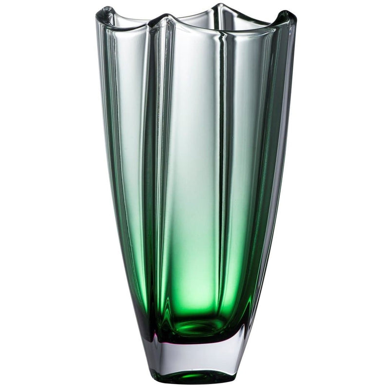 "Engraved Emerald Dune 10"" Square Vase - Galway Irish Crystal"