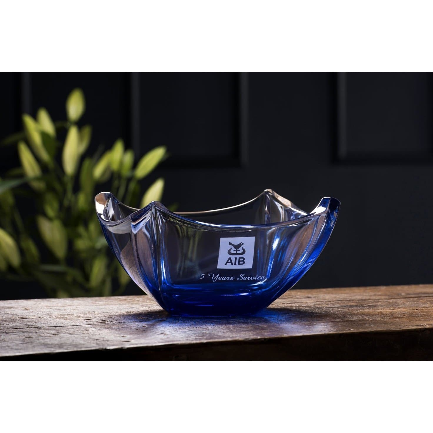 "Engraved Sapphire Dune 10"" Bowl G45026E - Galway Irish Crystal"