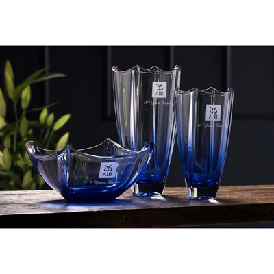 "Engraved Sapphire Dune 12"" Square Vase - Galway Irish Crystal"