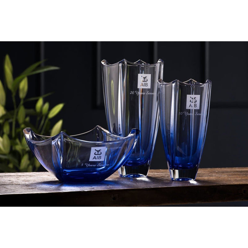 "Engraved Sapphire Dune 12"" Square Vase"