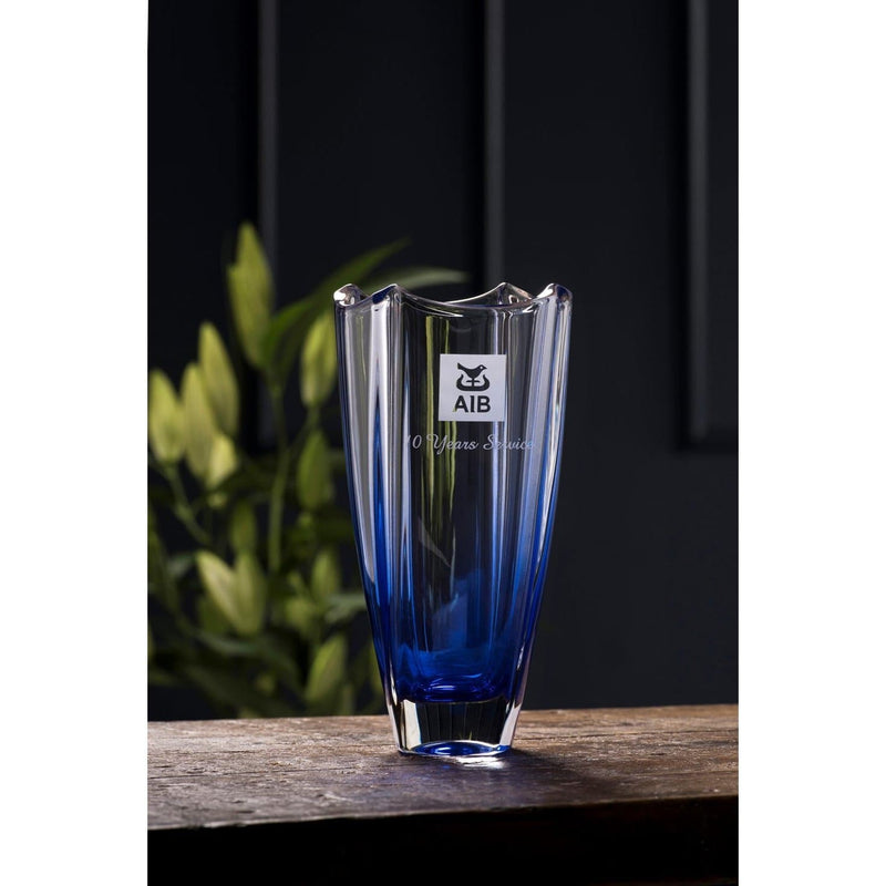 "Engraved Sapphire Dune 10"" Square Vase"