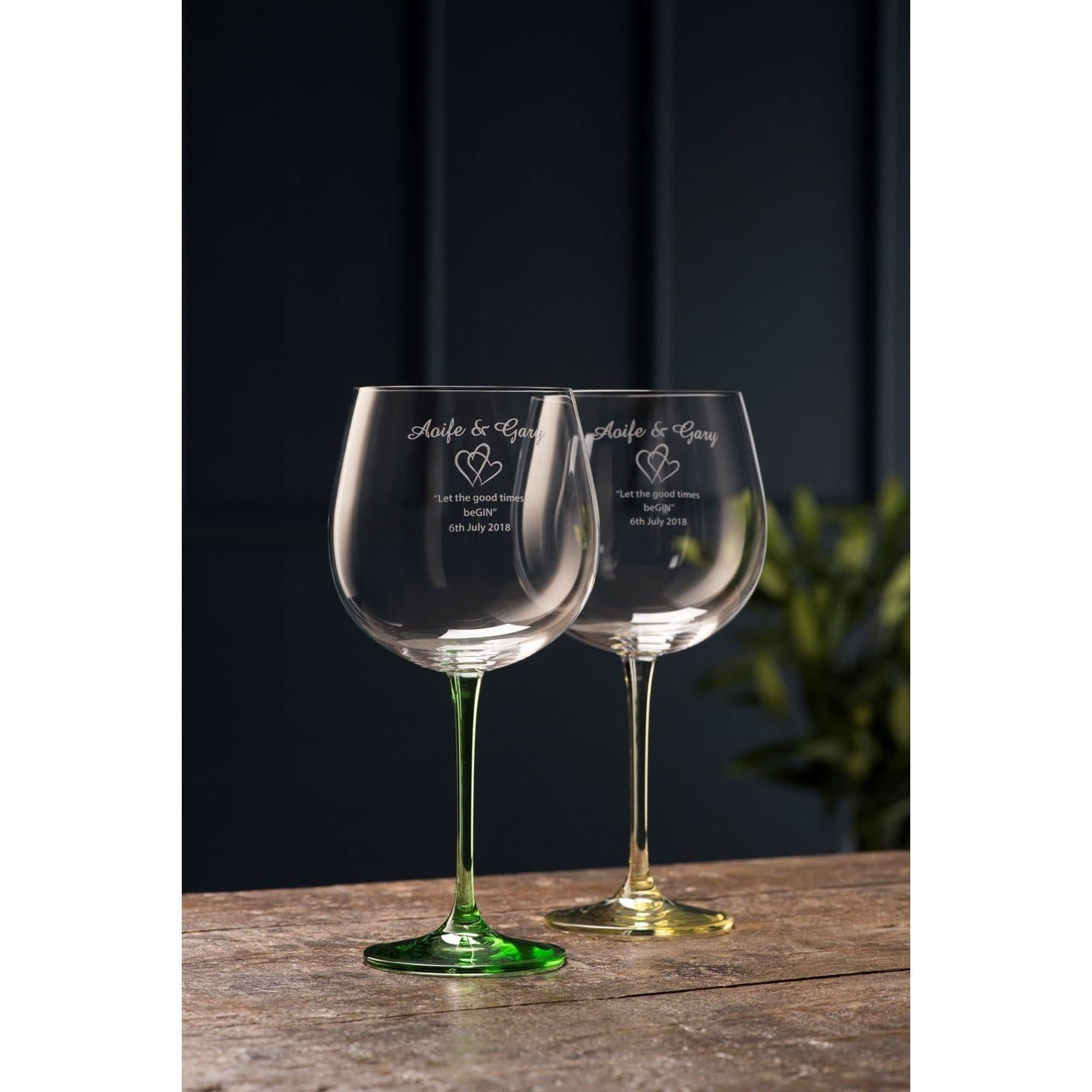 Engraved Gin & Tonic (Pair) - Lemon & Lime (G600152E) - Galway Irish Crystal