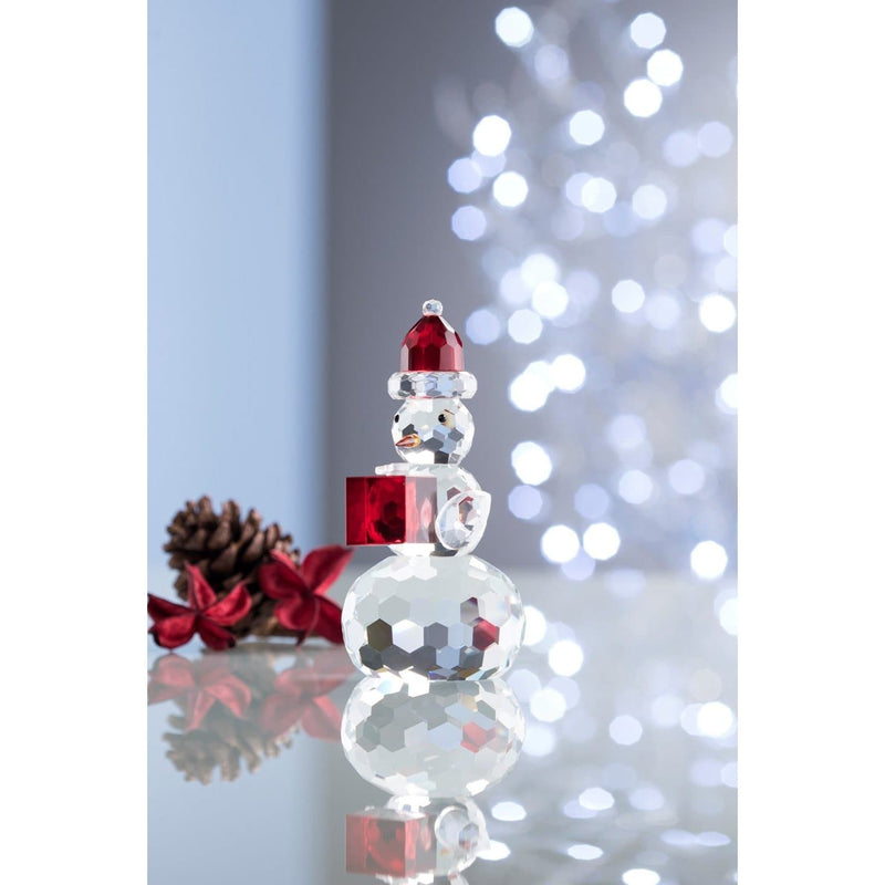 Gem Snowman with Red Hat & Box - Galway Irish Crystal