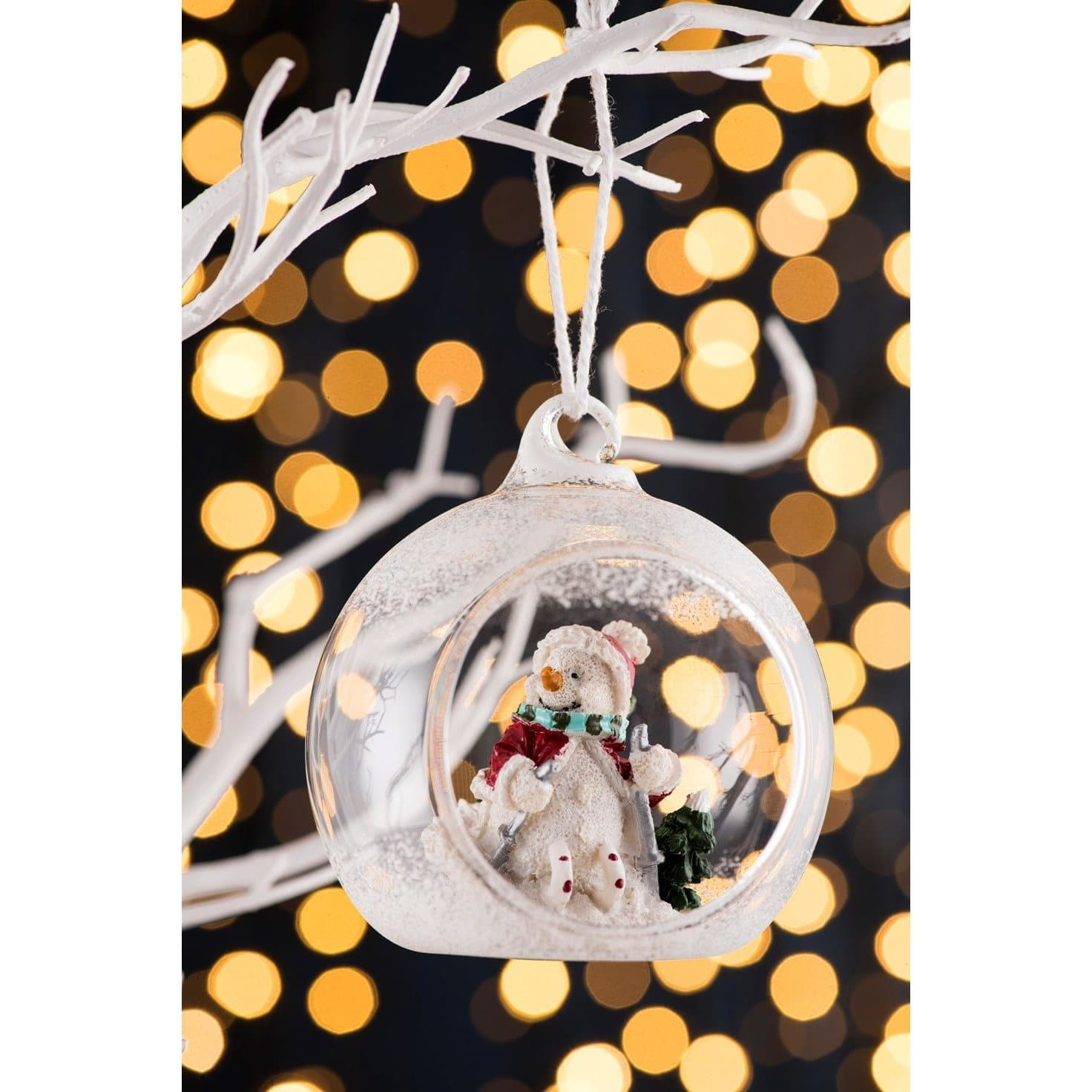 *Sold Out* NEW Skiing Snowman Hanging Ornament GHO55 - Galway Irish Crystal