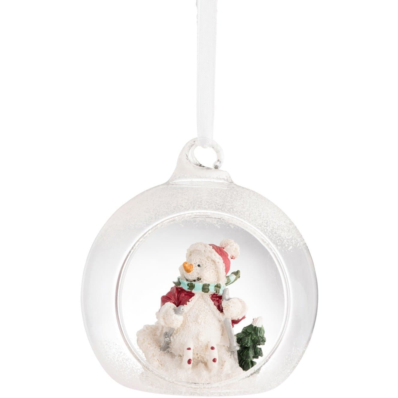 Skiing Snowman Hanging Ornament - Galway Irish Crystal