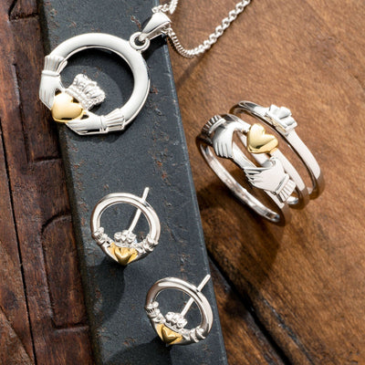 Three Part Claddagh Sterling Silver & Gold Rings - Galway Irish Crystal