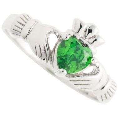 Green Crystal Claddagh Sterling Silver Ring (G77)