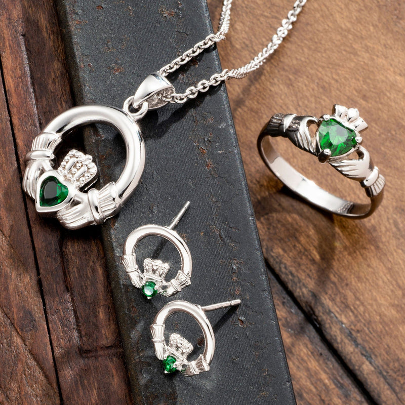 Green Crystal Claddagh Sterling Silver Earrings G7701 - Galway Irish Crystal