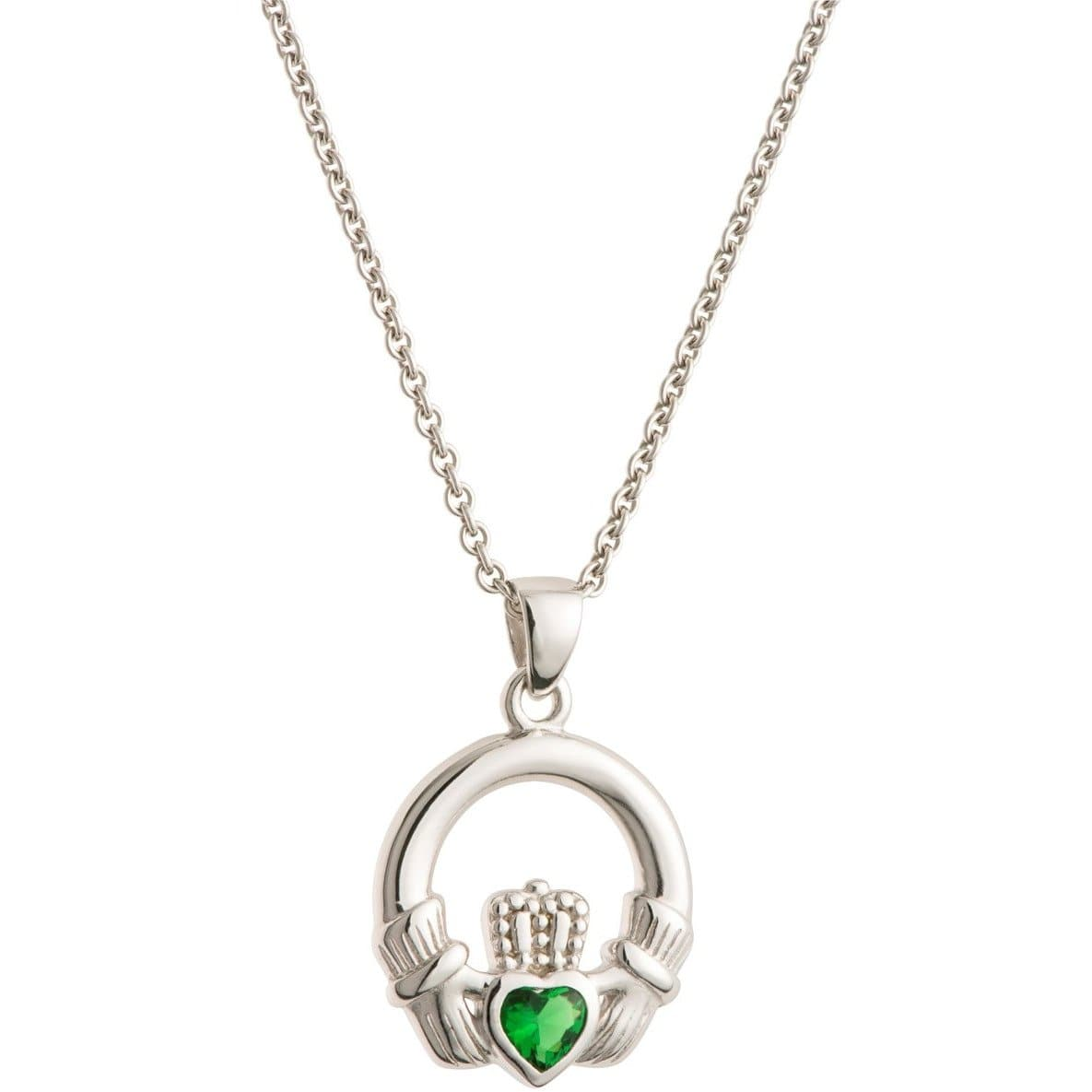 Green Crystal Claddagh Sterling Silver Pendant G7700 - Galway Irish Crystal