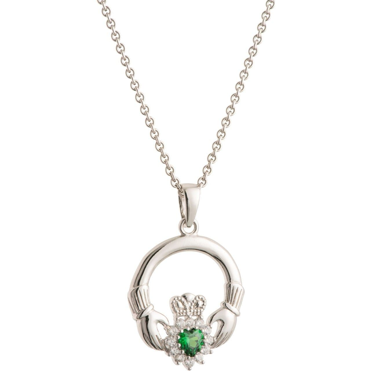Green Crystal Sparkle Claddagh Sterling Silver Pendant G7800