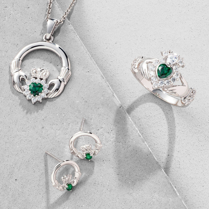 Green Crystal Sparkle Claddagh Sterling Silver Pedant G7800 - Galway Irish Crystal